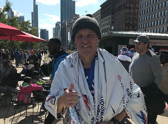 patient rod engel after completing 2019 chicago marathon
