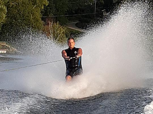 patient jason nicholai water skiing