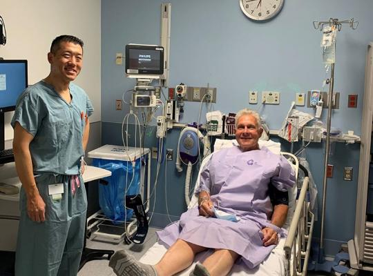 dr denis nam with patient bob wernes before hip replacement surgery